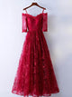 2018 Cheap A-line Off-the-shoulder Red Lace Simple Long Prom Dress # VB1013 - DemiDress.com