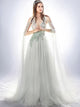 Beading Prom Dress V-neck Appliques Brush Train Sleeveless Tulle Prom Dress # VB1022