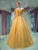 Beading Prom Dress Off-the-shoulder Yellow Brush Train Rhinestone Prom Dress/Evening Dress # VB1023