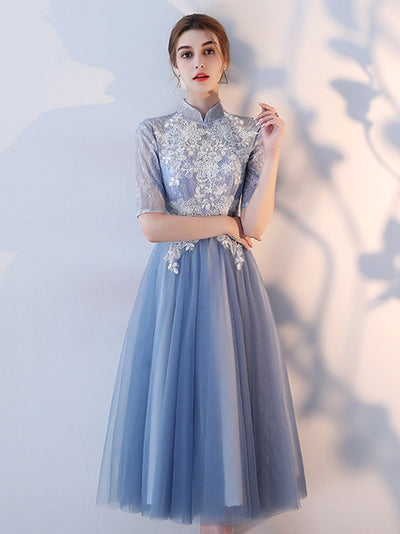 Beautiful Homecoming Dress Off-the-shoulder Tea-length Lace Homecoming Dress  # VB1026