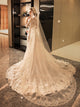 Lace Wedding Dress Court Train Half sleeve Appliques Beading Wedding Dress # VB1028