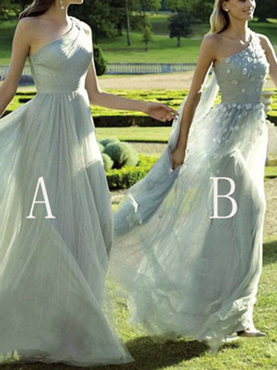A-line One Shoulder Floor-length Sleeveless Tulle Bridesmaid Dresses # VB102