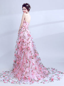 2018 A Line Prom Dress Pink Lace Flower Long Prom Dress # VB1031 - DemiDress.com