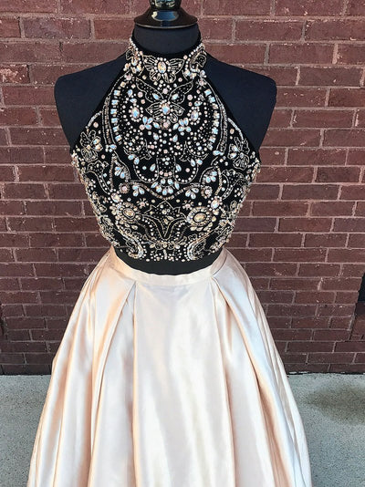 2018 Two Piece Prom Dress Beautidul Pink Long Prom Dress #VB1035 - DemiDress.com