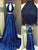 Two Piece Prom Dress High Neck Brush Train Royal Blue Long Prom Dress/Evening Dress #VB1043
