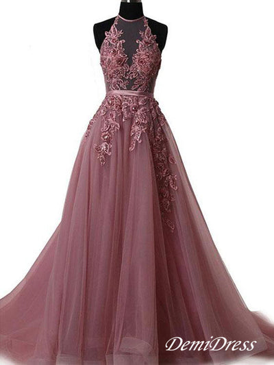 2018 Long Prom Dress Halter Brush Train Simple Lace Prom Dress/Evening Dress #VB1044 - DemiDress.com