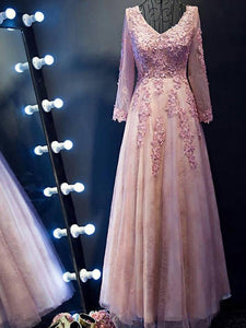 2018 Lcae Prom Dress Long Sleeve Pink Long Beading V-neck Prom Dress/Evening Dress # VB1051 - DemiDress.com