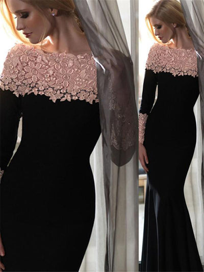 0998e2b401 Mermaid Prom Dress Off-the-shoulder Black Long Sleeve Sexy Prom Dress  Evening