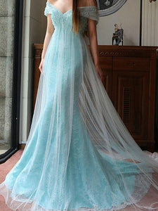 Mermaid Prom Dress Off-the-shoulder Blue Brush Train Lace Long Prom Dress/Evening Dress # VB1059