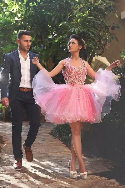 2018 Pink Homecoming Dress Short/Mini Cheap Homecoming Dress/Short Dress # VB1061 - DemiDress.com