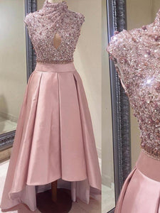 Pink Prom Dress High Neck Asymmetrical Sequins Cheap Prom Dress/Evening Dress # VB1062