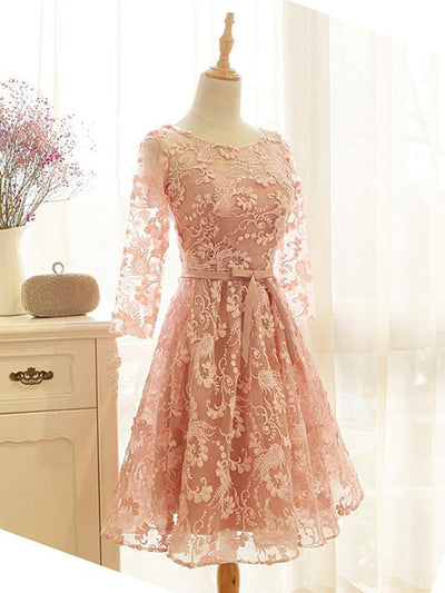 2018 Pink Homecoming Dress Knee-length 3/4-Length Lace Homecoming Dress/Short Dress # VB1067 - DemiDress.com