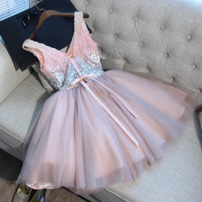 2018 Pink Homecoming Dress V-neck Short/Mini Sleeveless Sequins Popular Homecoming Dress  # VB1069