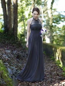 2018 Cheap Bridesmaid Dresses Halter Floor-length Lace Simple Bridesmaid Dresses # VB1075 - DemiDress.com