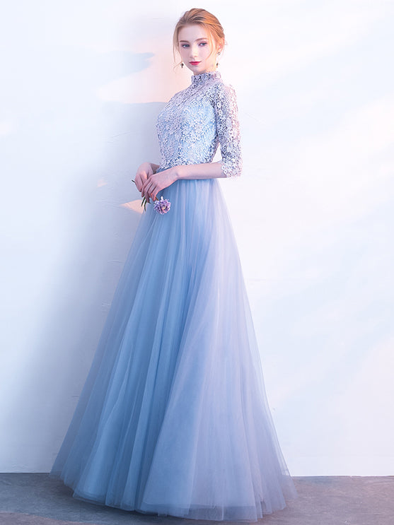 2018 Prom Dress High Neck Floor-length 3/4-Length Lace Cheap Prom Dress/Evening Dress # VB1080