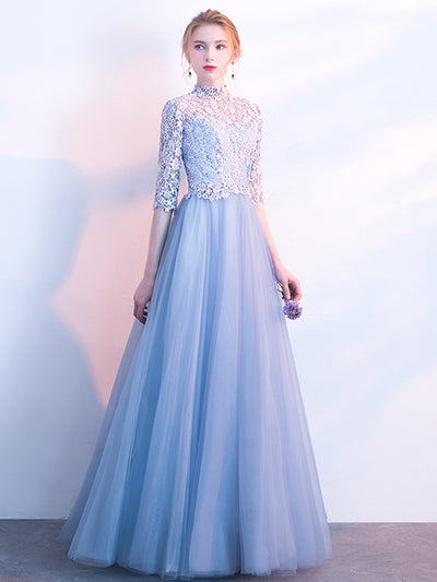 2018 Prom Dress High Neck Floor-length 3/4-Length Lace Cheap Prom Dress/Evening Dress # VB1080 - DemiDress.com