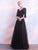 Black V-neck Floor-length 3/4-Length Cheap Long Lace Simple Prom Dress/Evening Dress # VB1081