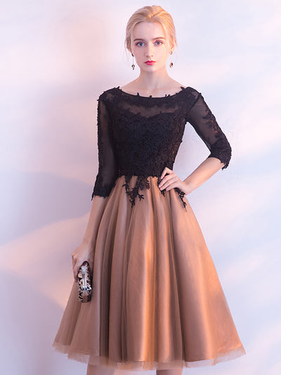 2018 Homecoming Dress Lace Knee-length 3/4-Length Cheap Homecoming Dress/Short Dress # VB1082 - DemiDress.com