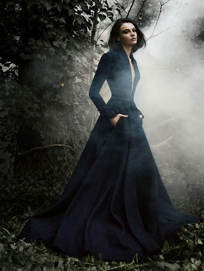 Dark Navy Prom Dress V-neck Brush Train Long Sleeve Beading Prom Dress/Evening Dress # VB1083