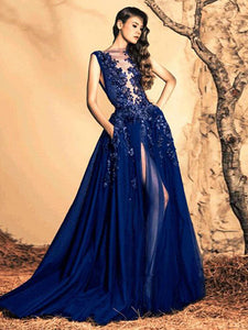 2018 Prom Dress Royal Blue Brush Train Appliques Sequins Prom Dress/Evening Dress # VB1085 - DemiDress.com