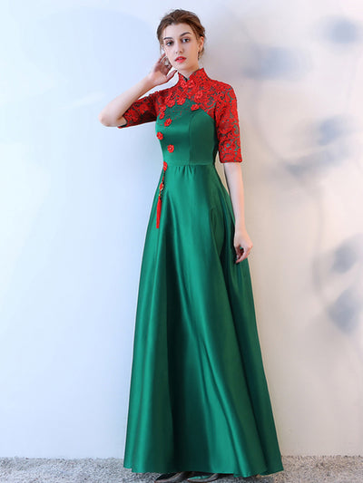 Green Prom Dress High Neck Half sleeve Elastic Woven Satin Lace Long Prom Dress/Evening Dress # VB1090