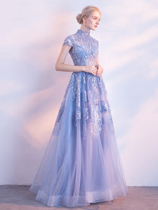 2018 Prom Dress Appliques High Neck Floor-length Cheap Long Prom Dress/Evening Dress # VB1091 - DemiDress.com