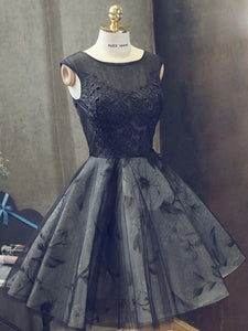 Black Homecoming Dress Short/Mini Sleeveless Cheap Lace Homecoming Dress/Short Dress # VB1092