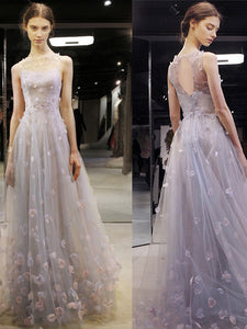 2018 Prom Dress Lace Floor-length Appliques Cheap Simple Prom Dress/Evening Dress # VB1095 - DemiDress.com