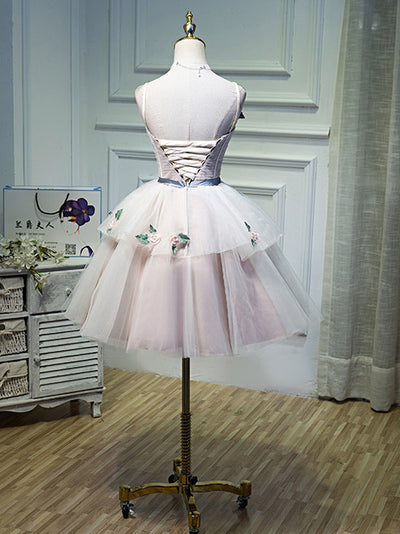 2018 Pink Homecoming Dress Straps Short/Mini Appliques Cheap Homecoming Dress/Short Dress # VB1096 - DemiDress.com