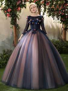Ball Gown Prom Dress Bateau Floor-length 3/4-Length Lace Prom Dress/Evening Dress # VB1103