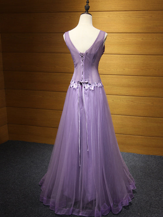 2018 Prom Dress V-neck Floor-length Beading Lavender Long Prom Dress/Evening Dress # VB1104