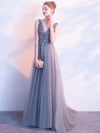 2018 Silver Prom Dress V-neck Floor-length Beading Rhinestone Prom Dress/Evening Dress # VB1105 - DemiDress.com