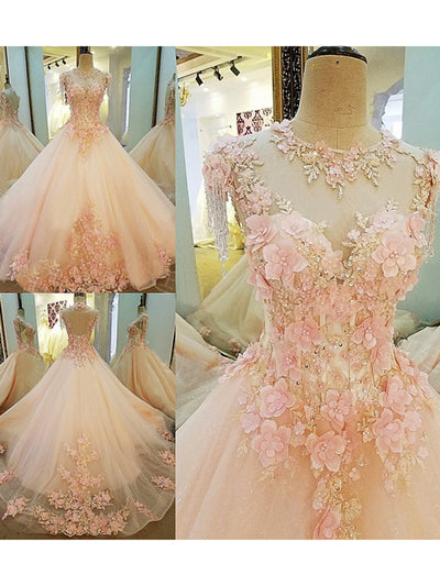2018 Ball Gown Wedding Dress Brush Train Pink Cheap Wedding Dress # VB1106 - DemiDress.com