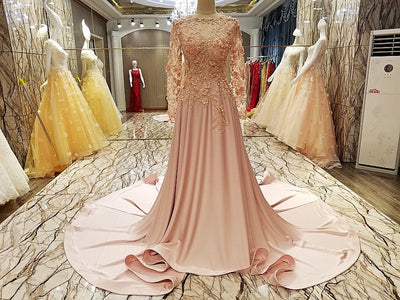 2018 Pink Prom Dress Brush Train Long Sleeve Lace Popular Prom Dress/Evening Dress # VB1107 - DemiDress.com