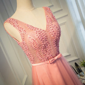 Pink Prom Dress V-neck Floor-length Lace Beading Long Prom Dress/Evening Dress # VB1117