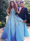 2018 Prom Dress Half sleeve Appliques Long Blue Popular Prom Dress/Evening Dress # VB1118 - DemiDress.com