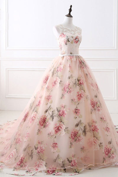 2018 Prom Dress Pink A-line Appliques Brush Train Beading Prom Dress/Evening Dress # VB1130 - DemiDress.com