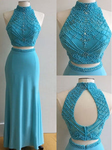 Tight Prom Dress Fitted Sheath Unique Blue Long Cheap Prom Dress # VB1133