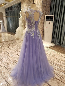 Lavender Prom Dress A-line Scoop Appliques Long Cheap Prom Dress/Evening Dress # VB1134