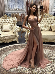Cheap Chiffon Prom Spaghetti Straps Brush Train Simple Long Prom Dress/Evening Dress # VB1135