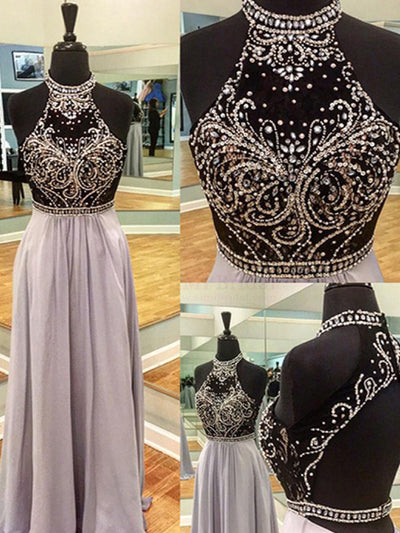 2018 Prom Dress Cheap A-line Scoop Beading Rhinestone Long Prom Dress/Evening Dress # VB1140 - DemiDress.com