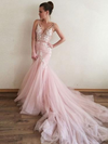 Pink Prom Dress Sexy Appliques Mermaid V-neck Brush Train Prom Dress/Evening Dress # VB1151