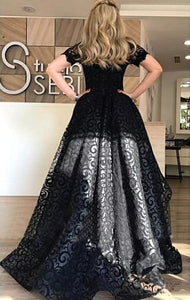 Black Prom Dress Off-the-shoulder Asymmetrical Cheap Lace Prom Dress/Evening Dress # VB1154