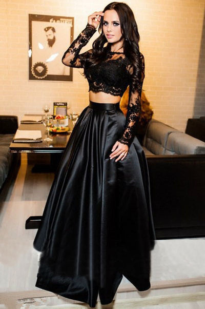 Black Long Sleeve Two Piece Prom Dress