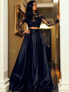 Two Pieces Prom Dress A-line Cheap Long Sleeve Lace Black Long Prom Dress/Evening Dress # VB1155