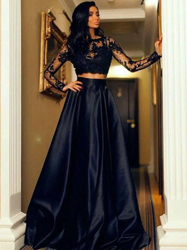 0db12c42957 Two Pieces Prom Dress A-line Cheap Long Sleeve Lace Black Long Prom Dress