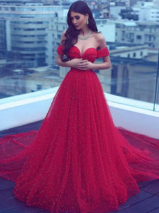 Chic A Line Red Prom Dress Simple Modest Elegant Long Off The Shoulder Prom Dress #VB1160