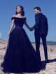 Black Prom Dress A-line Off-the-shoulder Long Beading Cheap Prom Dress/Evening Dress # VB1161