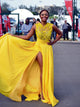 2018 Yellow Prom Dress A-line Long Cheap Embroidery Prom Dress/Evening Dress # VB1162