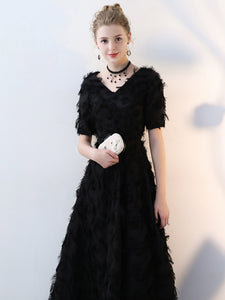 2018 Prom Dress Popular V-neck Feather Long Black Prom Dress/Evening Dress # VB1171 - DemiDress.com